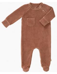Pyjama velours bio avec pied 0-3mois - Towny brown