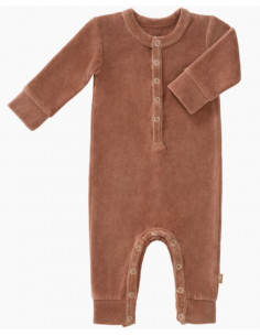 Pyjama velours bio sans pied 6-12mois - Towny brown