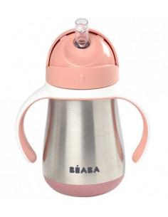 Tasse inox avec paille 250ml - Old Pink