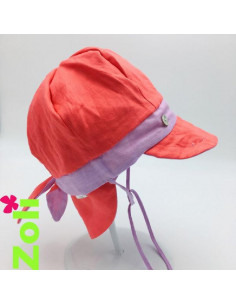 Chapeau soleil évolutif lin - Lilas/Corail