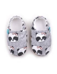 Chausson Titot coton+cuir 9-12m - Panda Girl