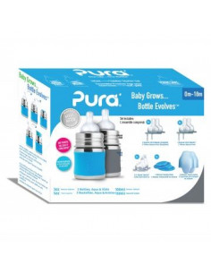 Starter set Biberon inox Pura 150 ml - Grey Aqua