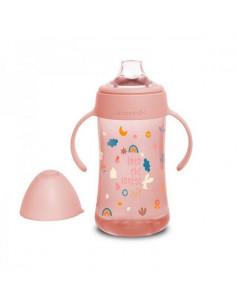 Biberon avec anses et bec souple 270ml - Forest Pink