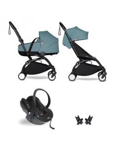 Poussette BABYZEN YOYO² nacelle, siège-auto, 6+ - Cadre noir/Coloris aqua