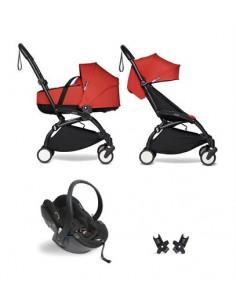 Poussette BABYZEN YOYO² nacelle, siège-auto, 6+ - Cadre noir/Coloris rouge