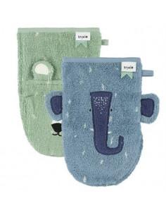 Gant de toilette 2pc - Mr. Polar Bear/Mrs. Elephant