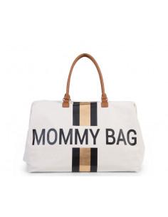 Sac à langer Mommy Bag - Ecru Rayures Noir/or