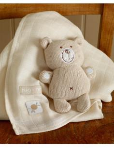 Ours tricoté et carré de mousseline coton bio