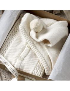 Gilet tricoté avec capuche coton bio 0-3m