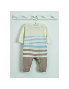 Combinaison tricot 0-3m - rayures bleues